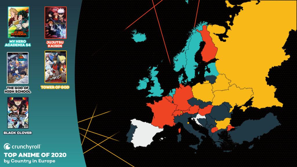 Les animés les plus vus en 2020 Europe MHA Jujutsu Kaisen Tower of God Black Clover