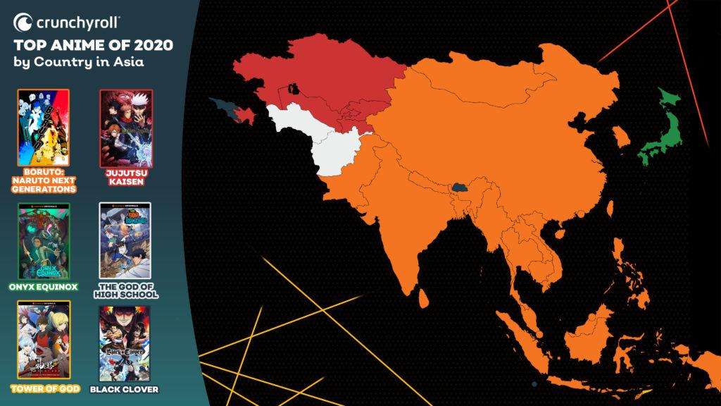 Les animés les plus vus en 2020 Asie Boruto Jujutsu Kaisen