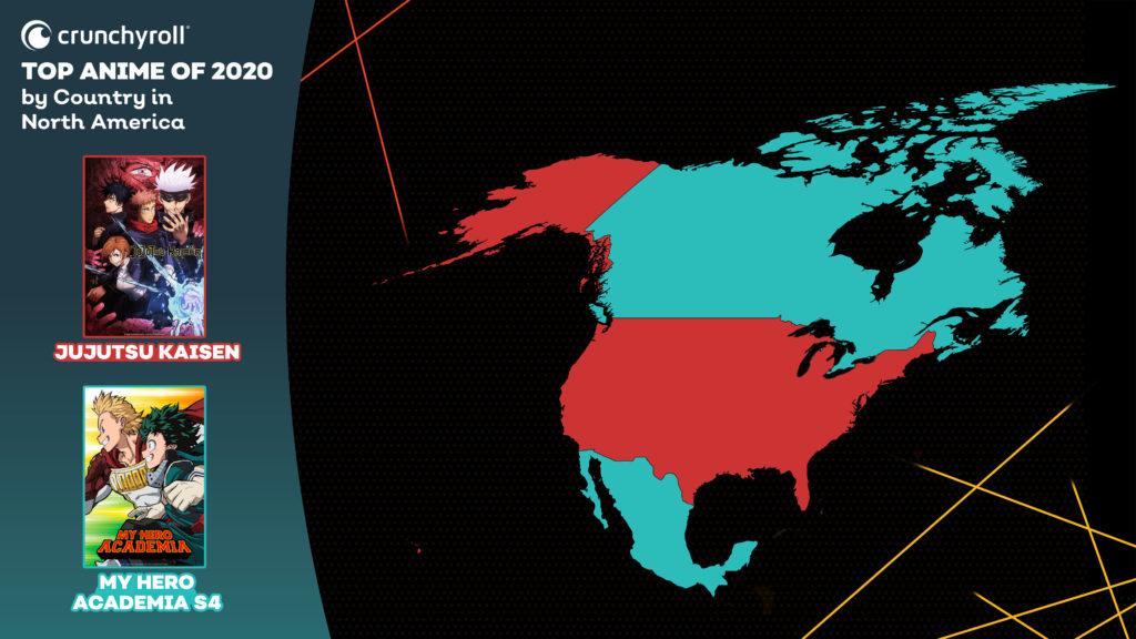 Les animés les plus vus en 2020 Amérique du Nord MHA Jujutsu Kaisen