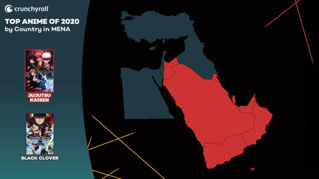 Les animés les plus vus en 2020 Afrique du Nord et Moyen-Orient Jujutsu Kaisen Black Clover