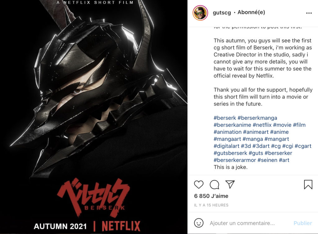 Gutscg Gerardo Torres Carrillo Annonce Film Berserk 3D Netflix Automne 2021